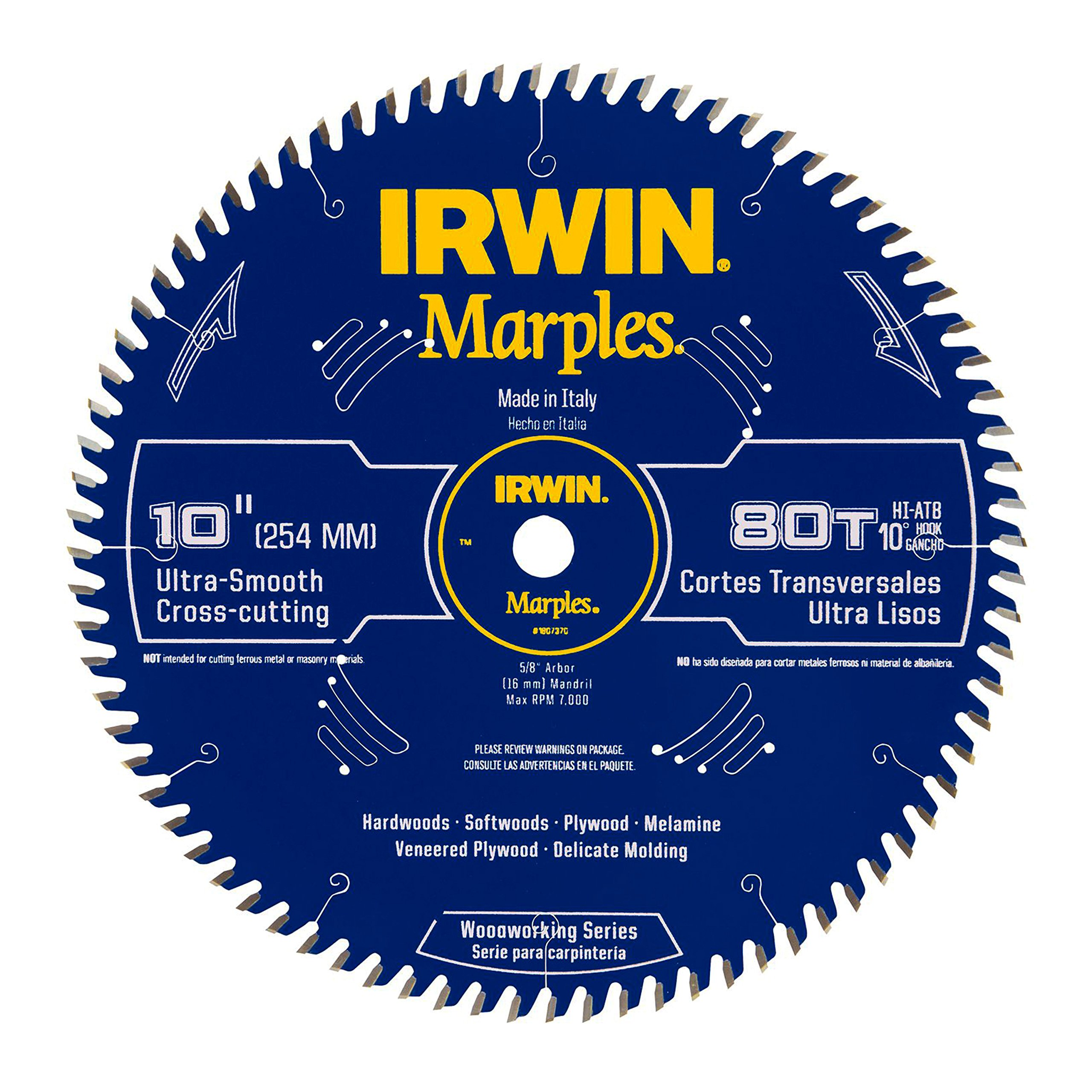 Irwin Tools  1807370 Marples Laser Cut 10-Inch 80-Tooth Hi-Alternate Tooth Bevel Circular Saw Blade by IRWIN