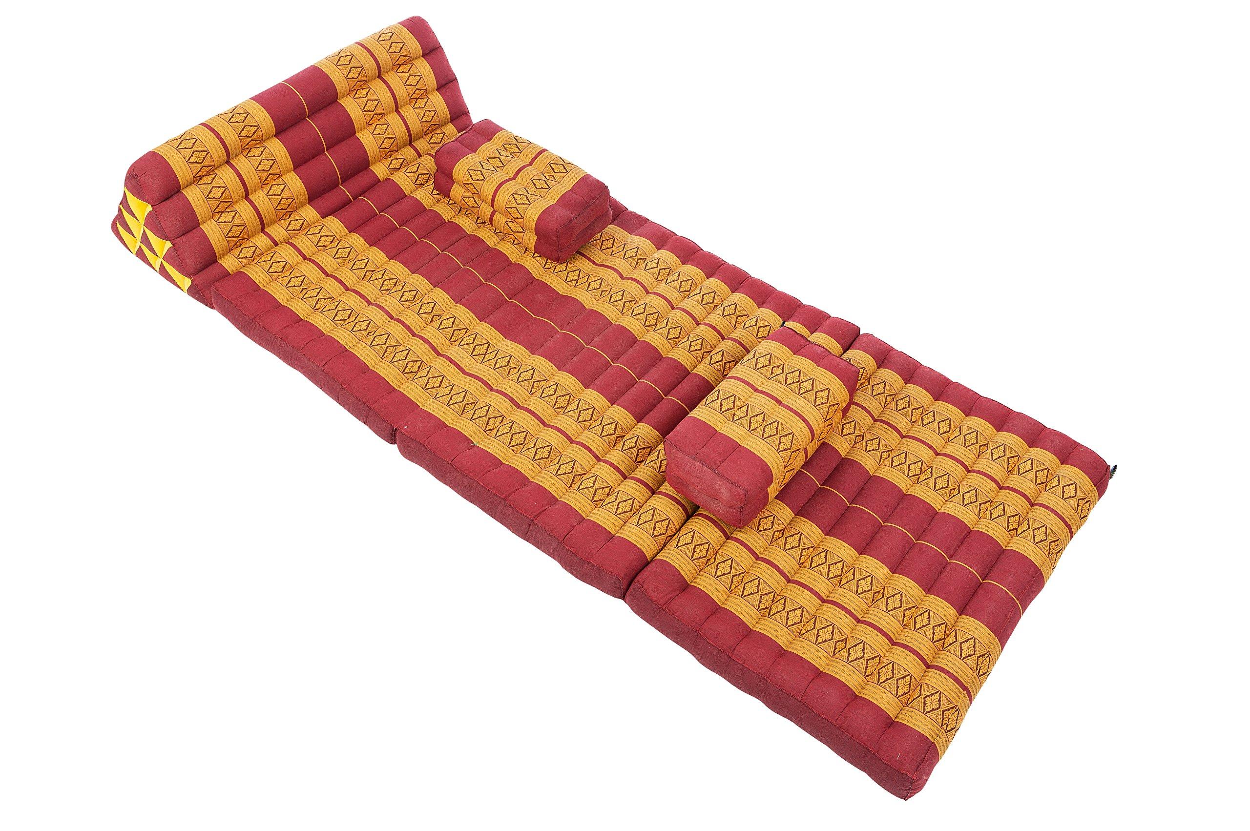 Thaicushion set Set XXXL: Thai Cushions and Pillows in Thai Traditional Design, Burgundy, 3 Pieces