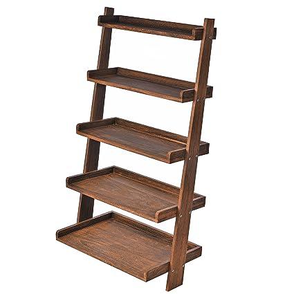 Beau 5 Tier Country Rustic Wood Display Shelf, Leaning Wall Organizer Rack, Dark  Brown