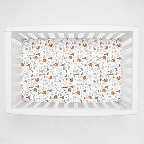 Amazon Com Carousel Designs Brave Fox Mini Crib Sheet Organic 100 Cotton Fitted Mini Crib Sheet Made In The Usa Kitchen Dining