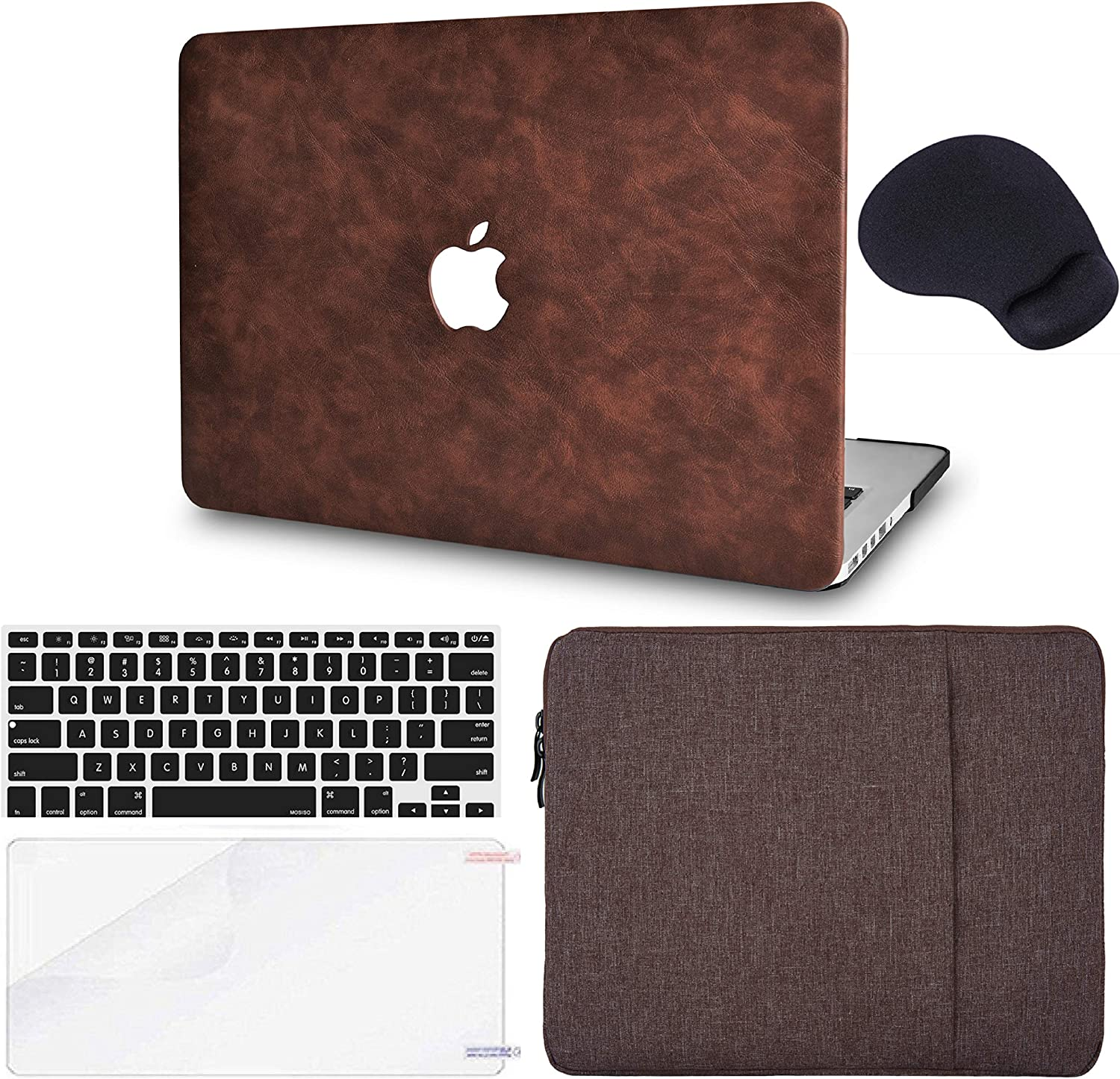 "LuvCase 5in1 Laptop Case for MacBook Air 11"" A1465 / A1370 Leather Hard Shell Cover, Sleeve, Mouse Pad, Keyboard Cover and Screen Protector (Brown Cow Leather)"