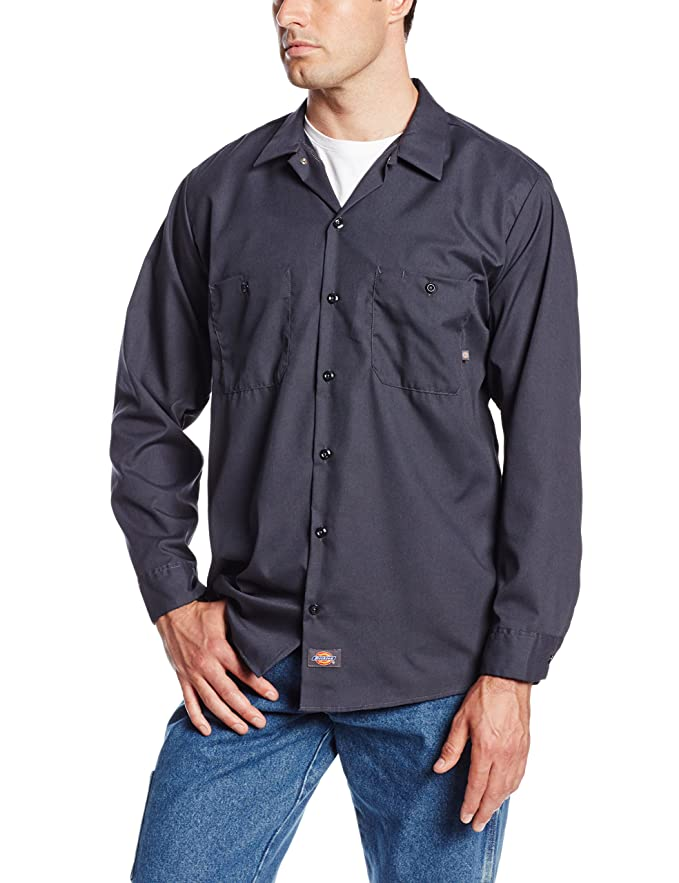New Dickies Occupational Workwear LL535CH 2XLT Polyester/ Cotton Men's Long Sleeve Industrial Work Shirt, 2X-Large Tall, Dark Charcoal free shipping