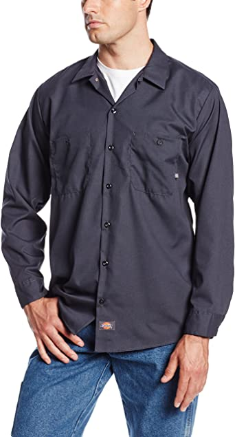 Dickies Occupational Workwear LL535CH Camisa de Trabajo Industrial de Manga Larga de poliéster/algodón para Hombre, Gris Oscuro