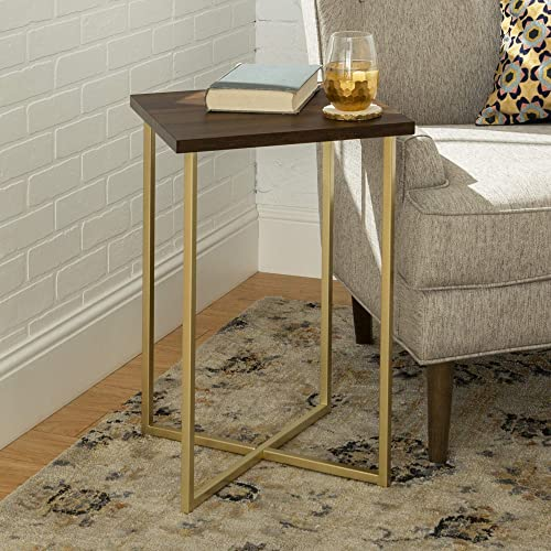 WE Furniture Modern Square Side End Accent Table Living Room, 16 Inch, Walnut Brown, Gold