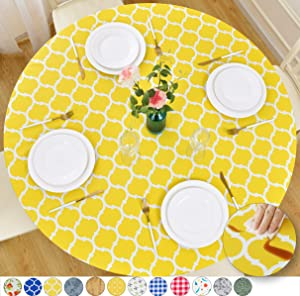 Rally Home Goods Indoor Outdoor Patio Round Fitted Vinyl Tablecloth, Flannel Backing, Elastic Edge, Waterproof Wipeable Plastic Cover, Yellow Moroccan Trellis Pattern for 5-Seat Table 36-44'' Diameter