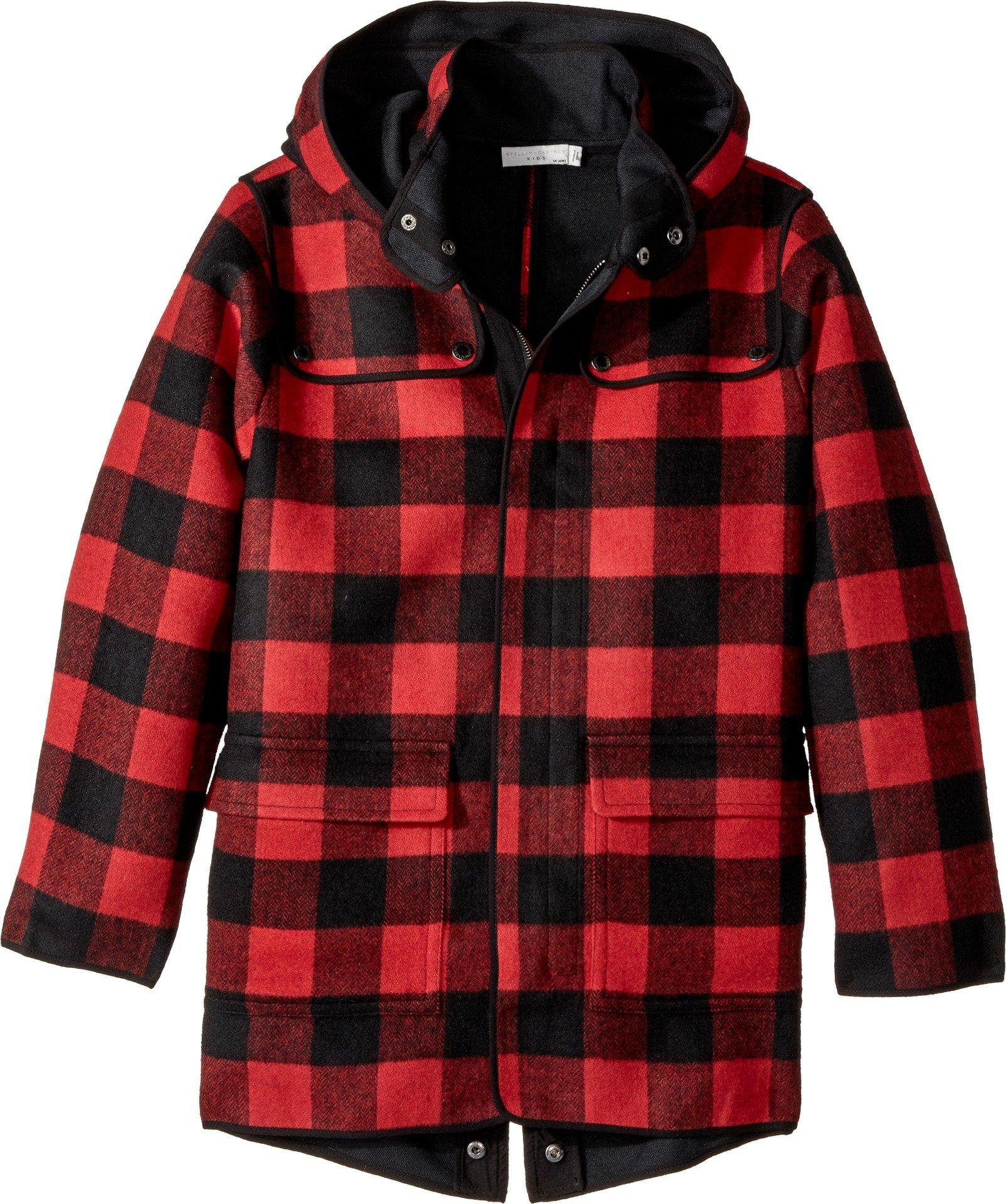 Stella McCartney Kids  Baby Boy's Beet Checkered Wool Coat w/ Detachable Hood (Toddler/Little Kids/Big Kids) Red/Black 12 (Big Kids)