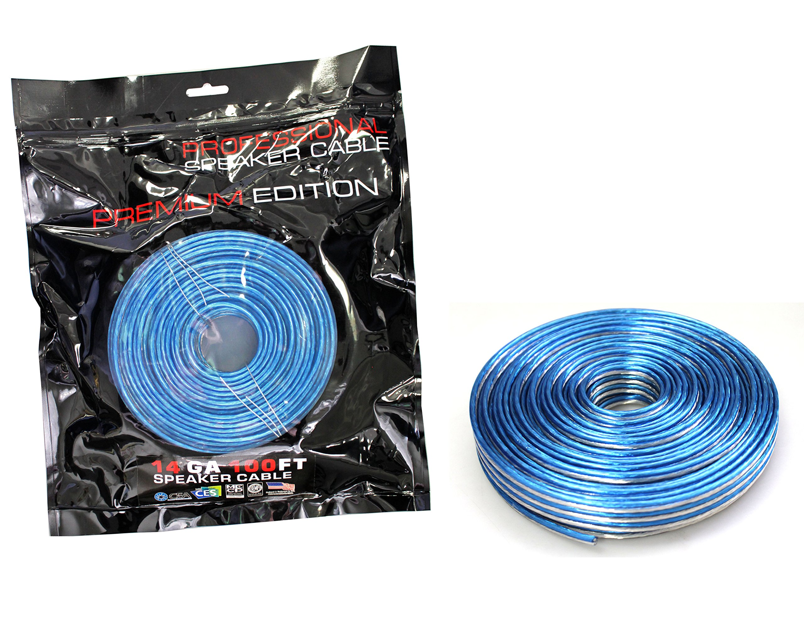 Absolute USA SWT14B100 Professional Premium Speaker Wire 14 Ga 100ft - Clear Blue/White