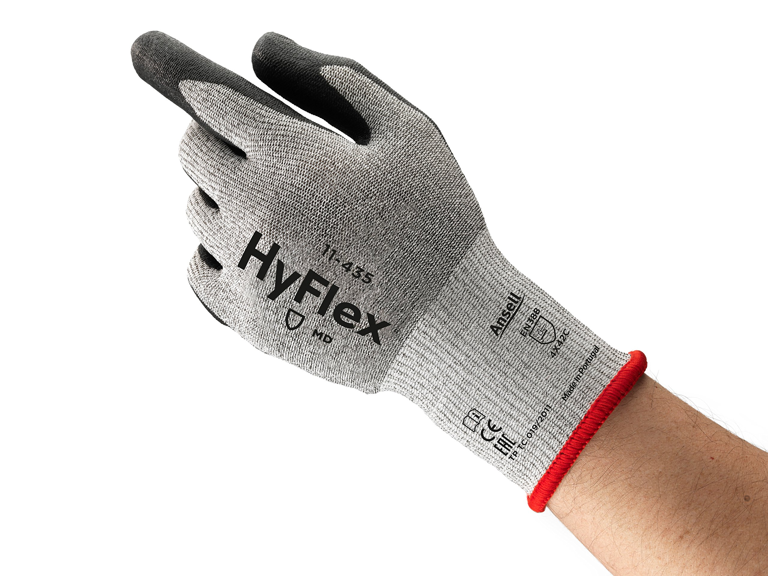 Ansell HyFlex 11-435 Nylon Medium-Duty Cut Protection Glove with Dyneema Knitwrist, Abrasion/Cut Resistant, Size 11, Gray (Pack of 12 Pair)