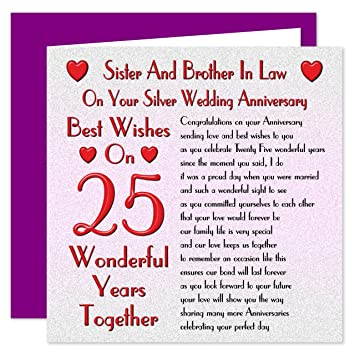 Sister Brother In Law 25th Wedding Anniversary Card On Your