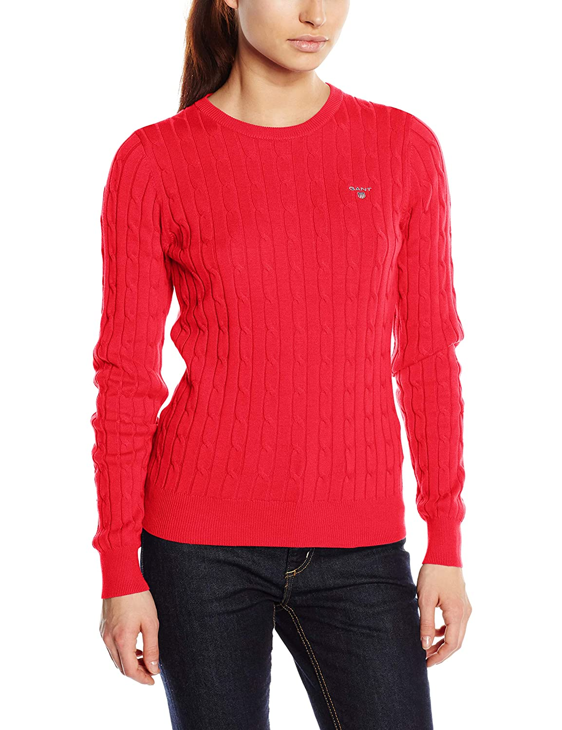 XX-Large Watermelon 648 Red GANT Womens Stretch Cotton Cable Crew Jumper