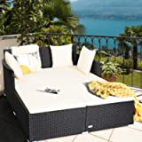 DORTALA Rattan Daybed, Outdoor Furniture w/Spacious Seat, Weather-Resistant Rattan, Upholstered Cushion w/High…