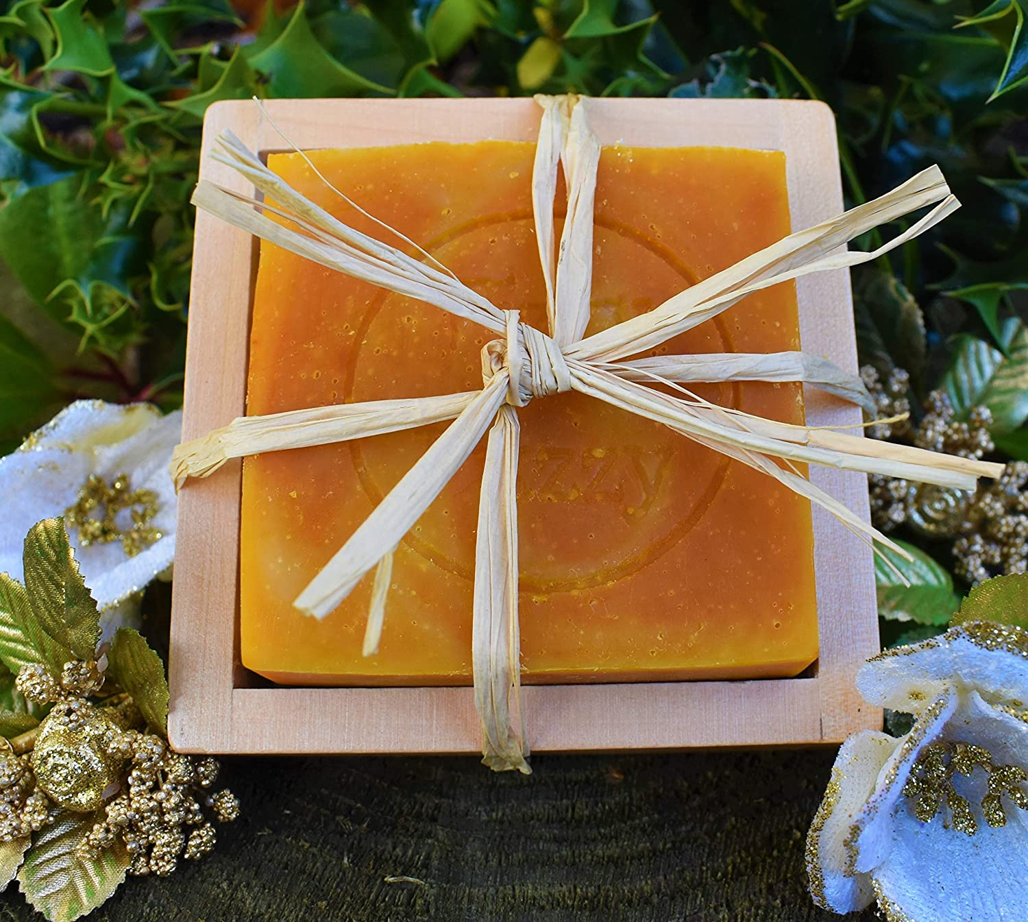 Handmade Prosecco & Clementine Soap & Bamboo Soap Dish. Fizzy Fuzzy.