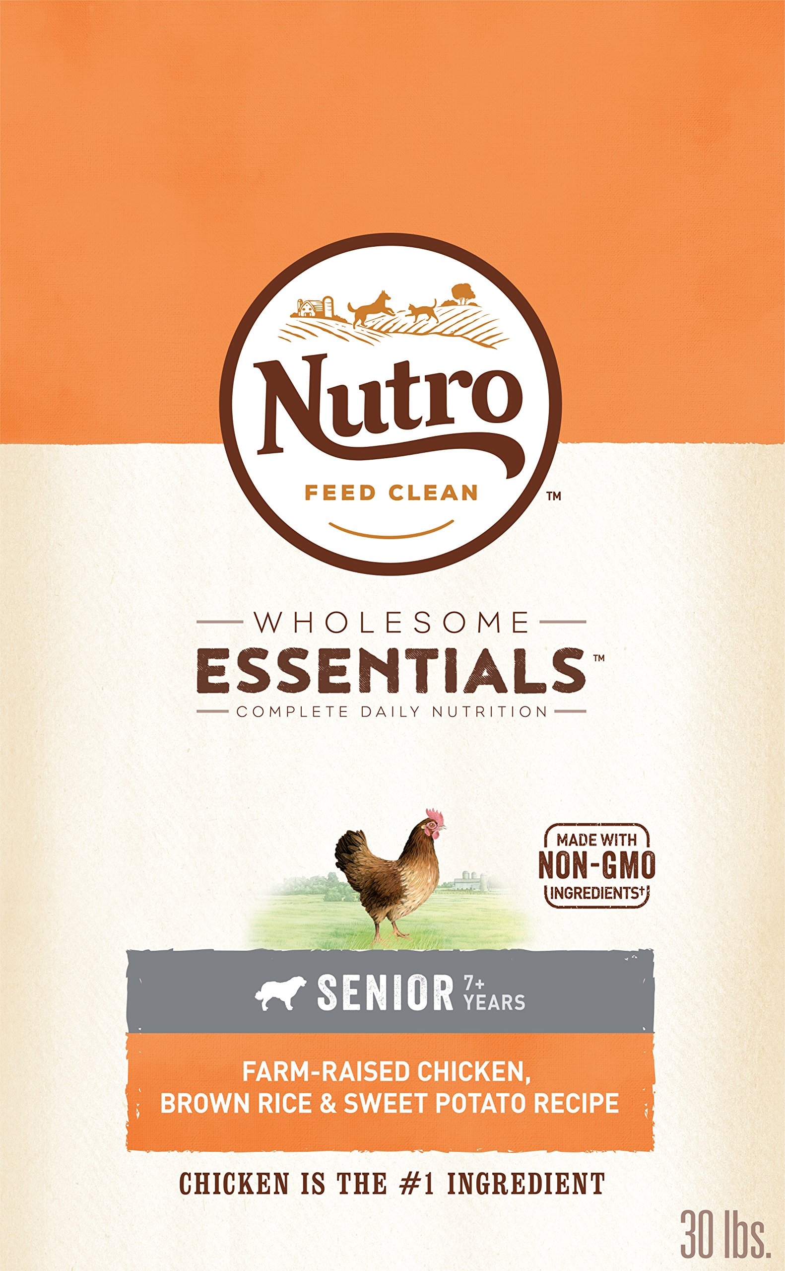 NUTRO WHOLESOME ESSENTIALS Natural Senior Dry Dog Food Farm-Raised Chicken, Brown Rice & Sweet Potato Recipe, 30 lb. Bag by Nutro