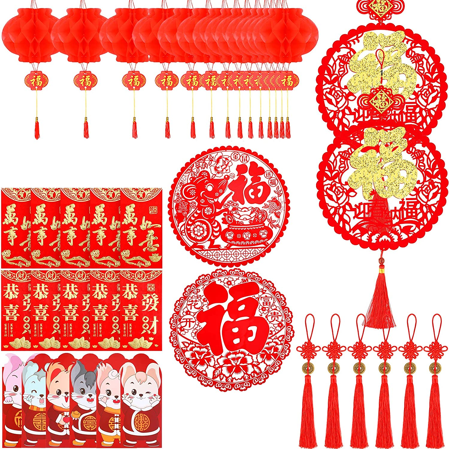 48 Pieces Chinese New Year Decorations Red Paper Lanterns Chinese Red Envelops Fu Character Window Stickers Pendants Chinese Knot Tassel Decorations Amazon Com