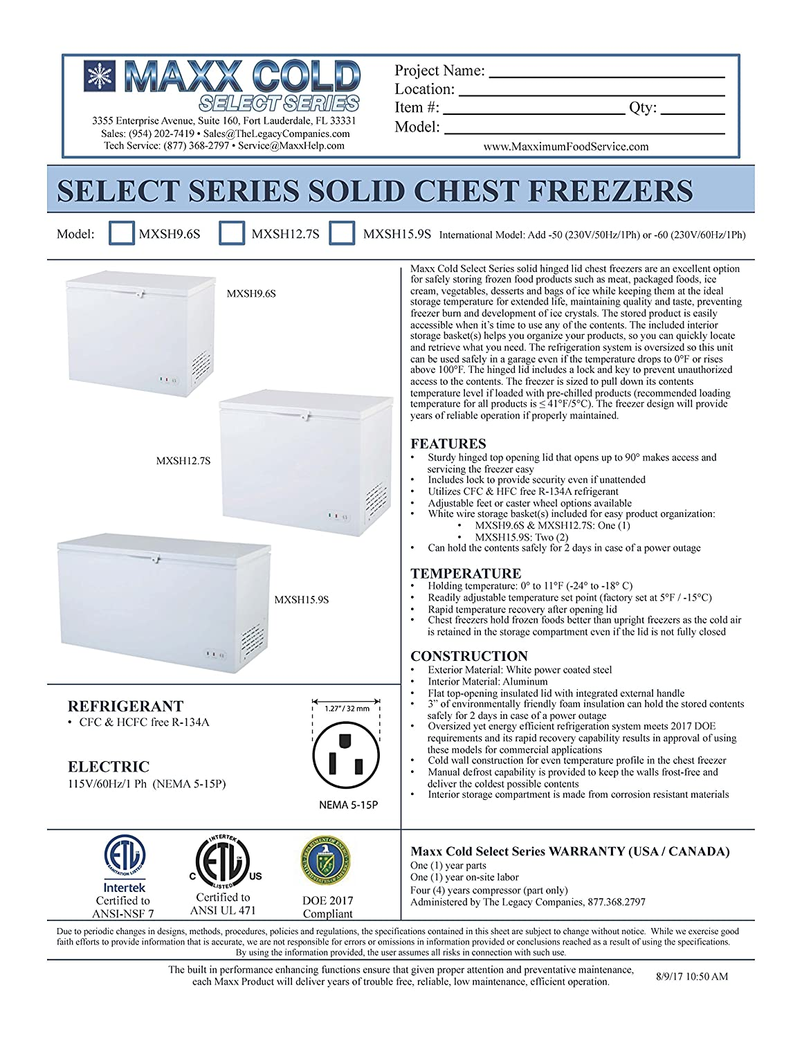 Maxx Cold 50 Wide Solid Hinged Top Commercial Chest Zer Wiring Diagram Freezer With Locking Lid Nsf Garage Ready Manual Defrost Keeps Food Frozen For 2 Days In
