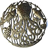 """Octopus with Sealife Haitian Recycled Metal Wall Art 23"""" X 23"""""""