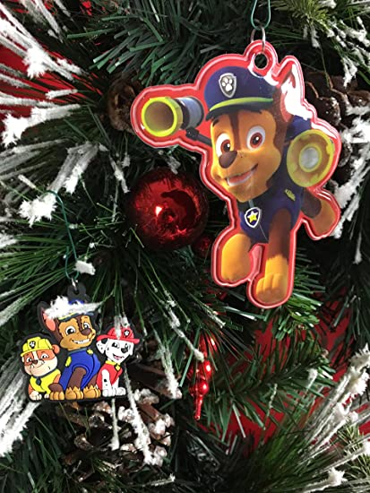paw patrol christmas tree ornaments 2 pieces - Paw Patrol Christmas Decorations