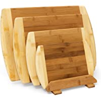 relaxdays 砧板竹制4件套带支架厨房木板不同尺码2 - 彩色木质双面使用和 messerschonend 作为 fruehstuecksbrettchen 和上菜棋盘木 , 自然