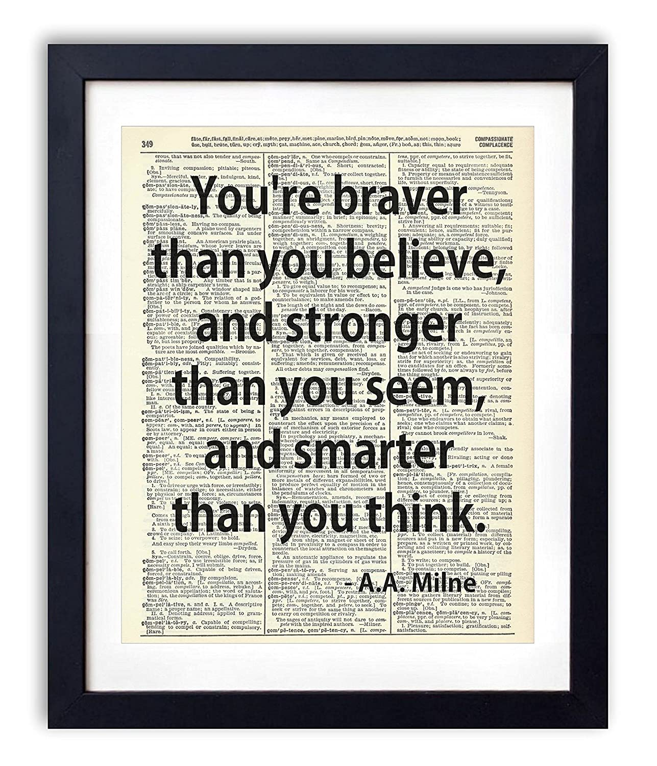 You're Braver Than You Believe Quote Upcycled Wall Art Vintage Dictionary Art Print 8x10 inches / 20.32 x 25.4 cm Unframed