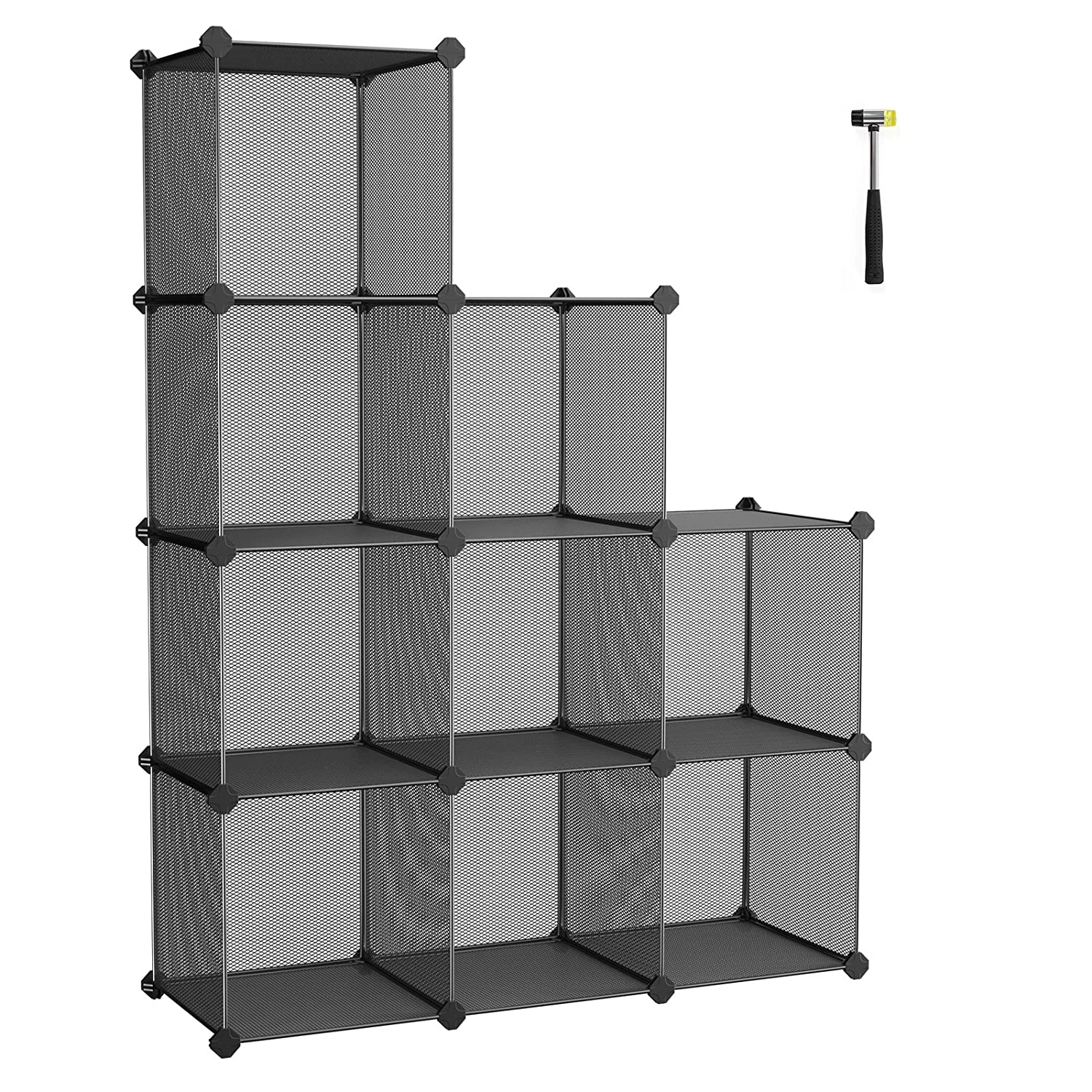 SONGMICS Storage Cubes, High-Density Metal Grid, Interlocking Shelving Organizer Unit with High Load Capacity for Closet, DIY Cabinet and Bookcase with Rubber Mallet, Black ULPL115H