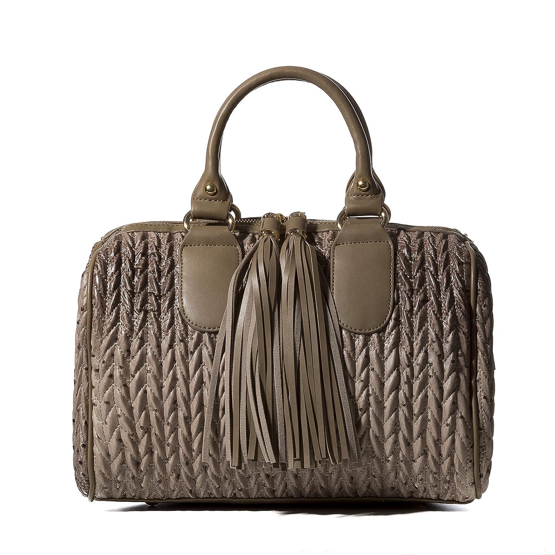 Handbag Republic Womens Vegan PU Leather Top Handle Handbag Tube Satchel  Style Two Tassel Zipper Closure (Animal Stone)  Handbags  Amazon.com c95e6021f1ecf