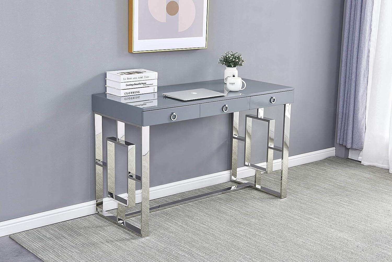Best Master Furniture Brooke Mid-Century Modern Glossy Home Office Desk, Grey/Silver