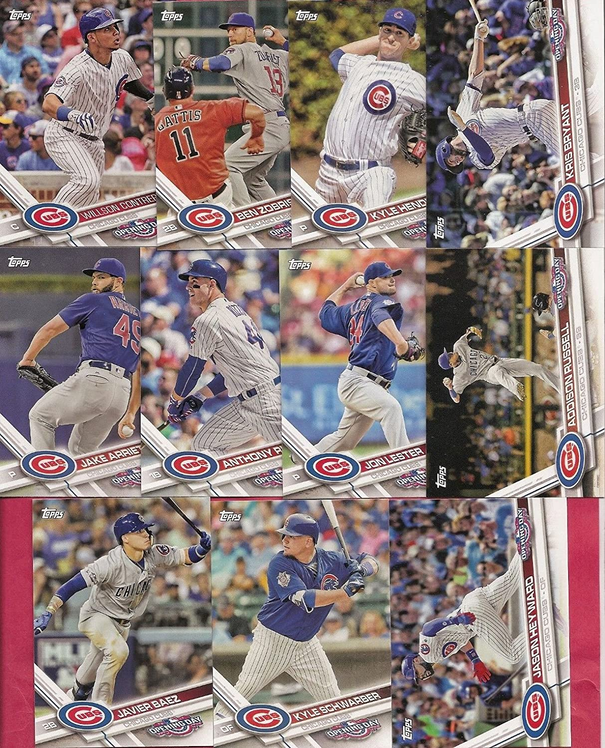 Chicago Cubs 2017 Topps Complete Mint Hand Collated Team Set with Kris Bryant Kyle Schwarber 2016 World Series Champions Highlights plus