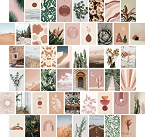 ARTIVO Wall Collage Kit Aesthetic Pictures, Boho Aesthetic Photo Collage Kit for Wall Aesthetic, Bedroom Decor for Teen Girls, 50 Set 4x6 inch, Boho Photo Collection