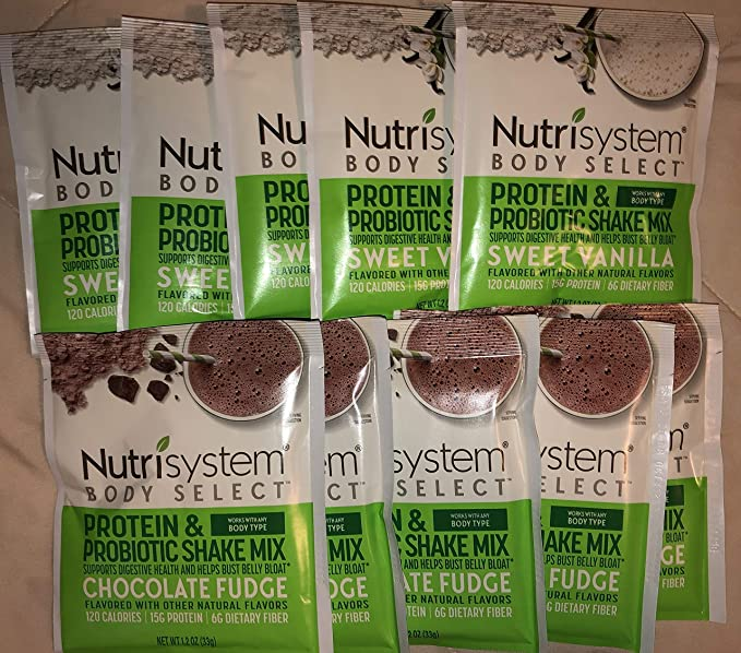 Amazon.com : Nutrisystem Body Select Protein & Probiotic shake mix Sweet vanilla / Chocolate Fudge ( 5 Envelopes Each one) : Grocery & Gourmet Food