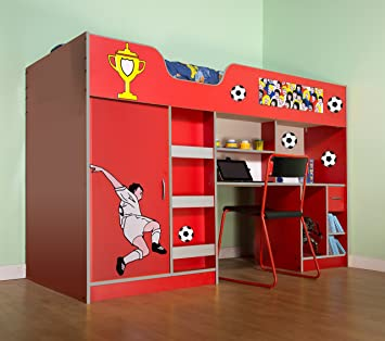 Mrsflatpack Lifestyle High Bed Red Football M1400rfoot Amazon Co