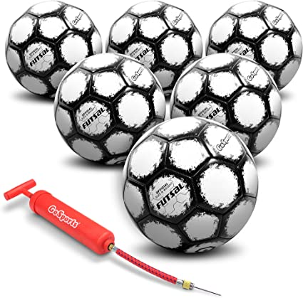 Pump and Mesh Bag Included GoSports Futsal Ball Regulation Size//Weight 6 Pack