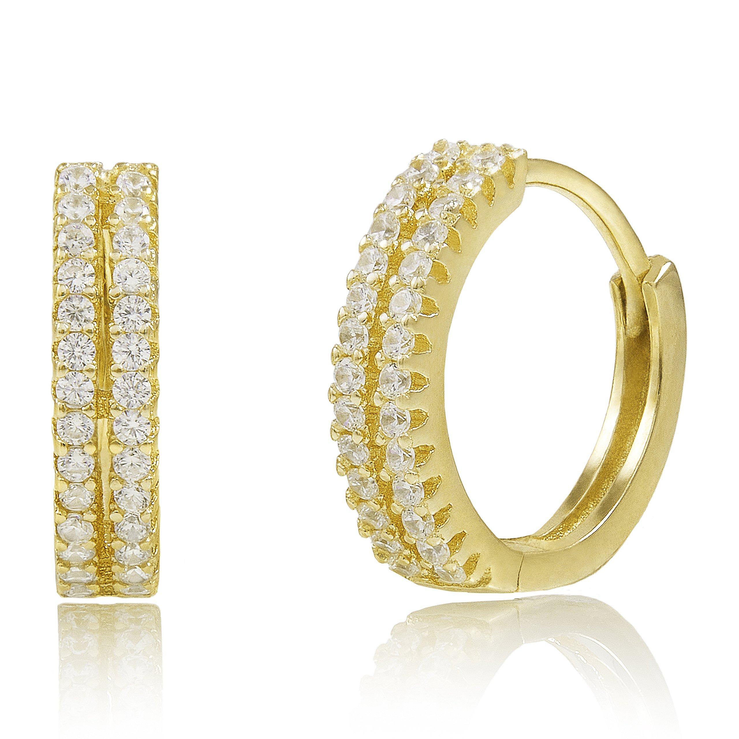 Spoil Cupid Yellow Gold-Plated Sterling Silver Cubic Zirconia Huggie Hoop Earrings