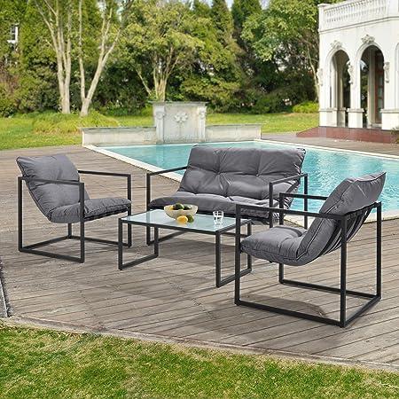 casa.pro] Set de Muebles de jardín 4-Piezas Conjunto de Muebles de Exterior Sillón Sofá Mesa de Centro Negro y Gris: Amazon.es: Hogar