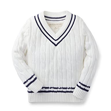 72d38060d94a Amazon.com  Hope   Henry Boys White Tennis Sweater  Clothing