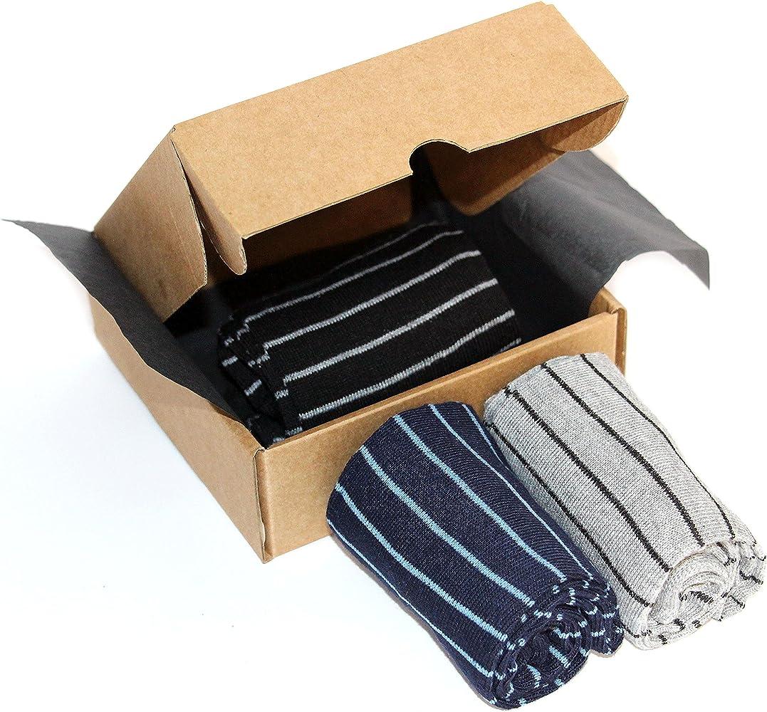 Calcetines Hombre. Pack 3 Pares Calcetines Rayas Alta Calidad (93% algodón, 7% elastano). Calcetines Largos en Caja Perfecta para Regalo. Suaves y Cómodos. Talla 40-46: Amazon.es: Ropa y accesorios