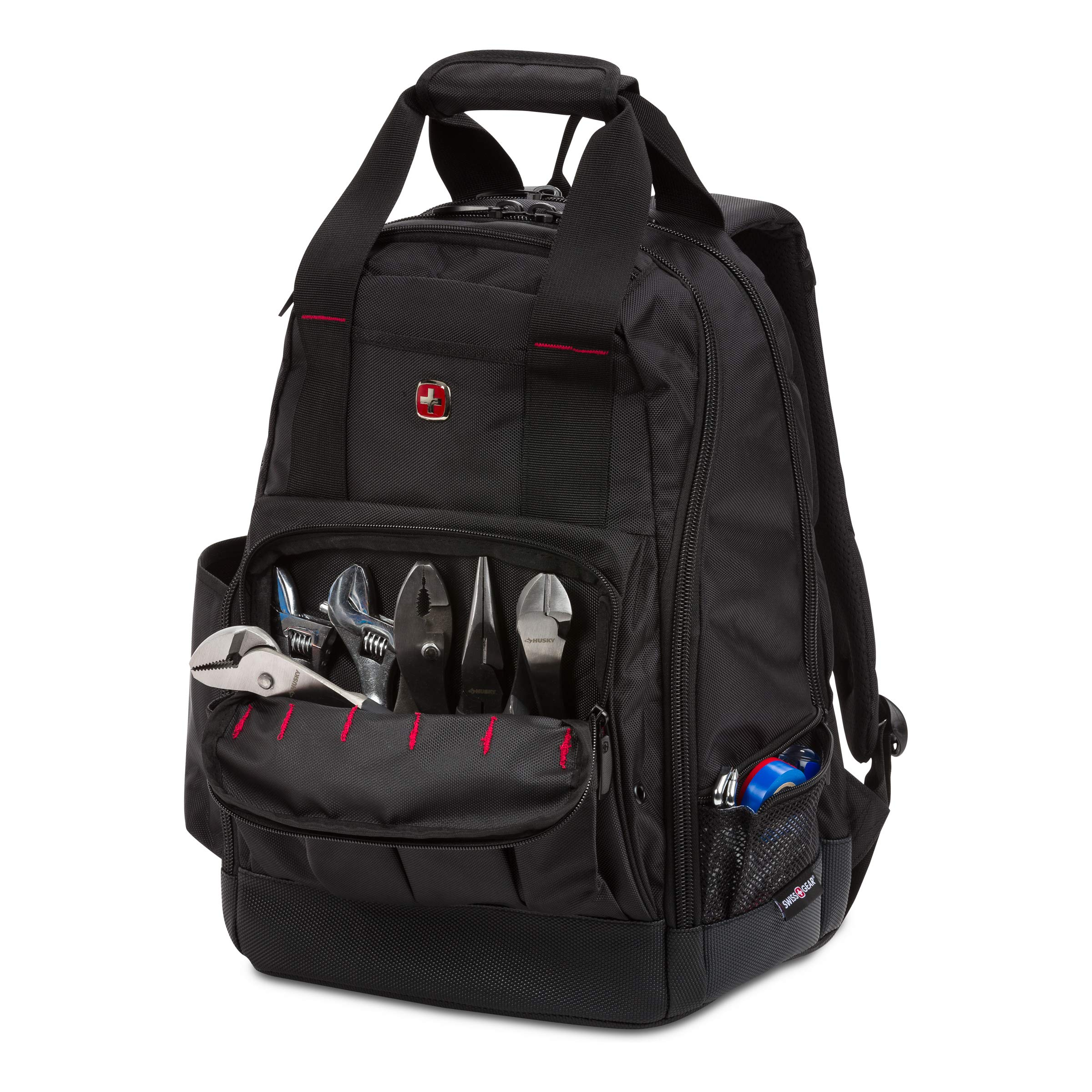 SWISSGEAR 2767 Large Durable Work Pack Tool Backpack With Padded Laptop Compartment | Tool Storage, Part Organization, Wet/Dry Pocket - Black by SwissGear (Image #6)
