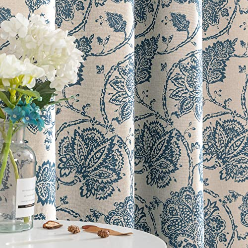 jinchan Floral Scroll Printed Linen Textured Curtains Grommet Top Ikat Flax Textured Medallion Design Jacobean Room Darkening Curtains Retro Living Room Window Covering Blue 84 inch Long Two Panel