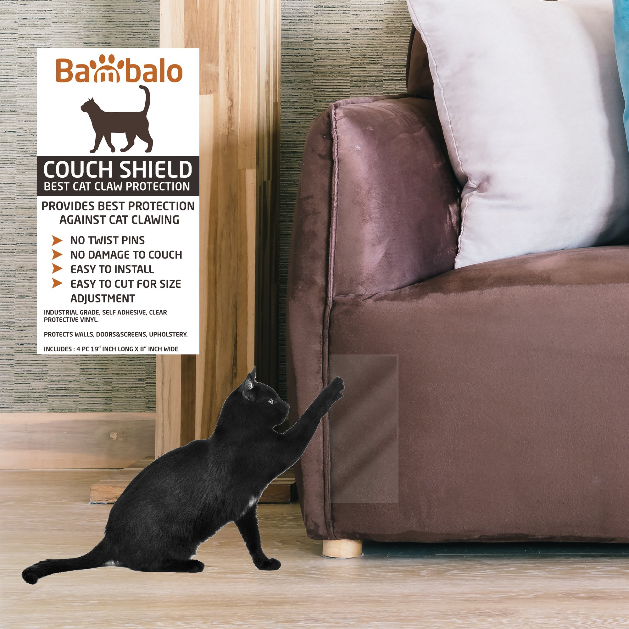 Bambalo Couch Shield upholstery guard, house furniture protection against cat clawing, Cat Scratching Training Aids, tape. Include - 4 PC Self adhesive sheets protectors 19'' inch long x 8'' inch wide by Bambalo (Image #1)