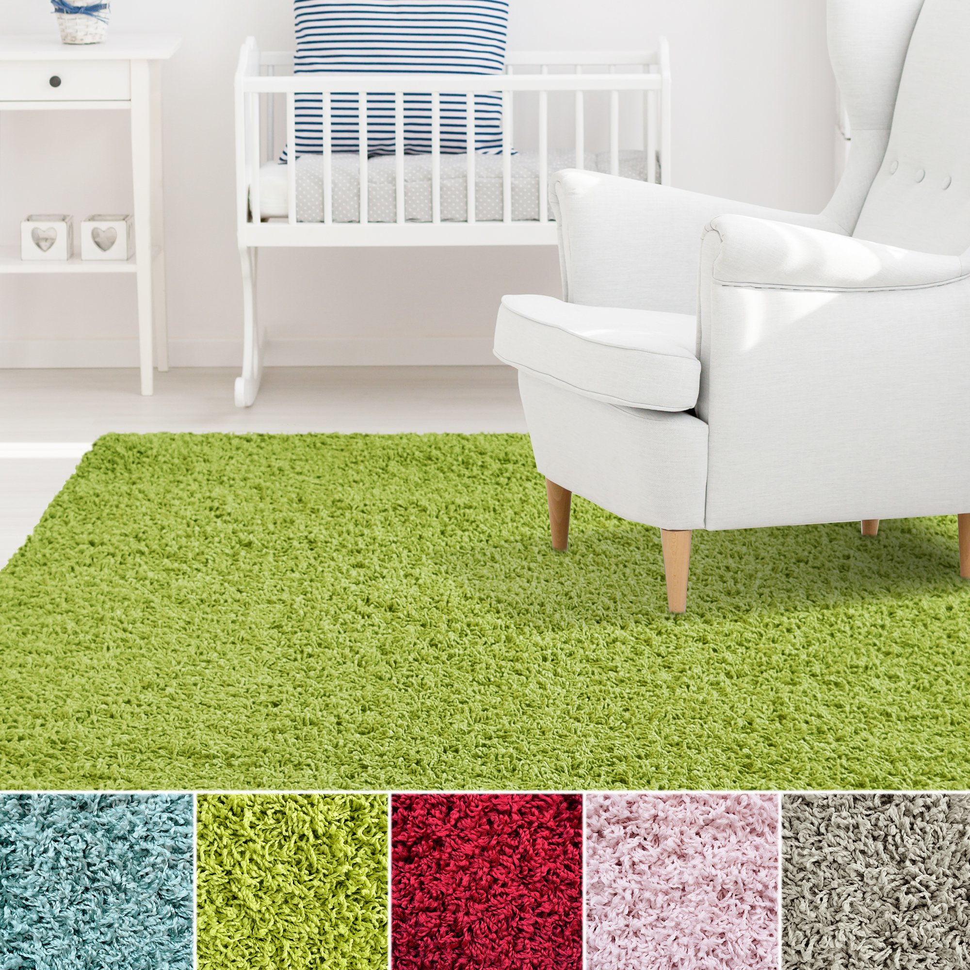 ICustomRug Affordable Shaggy Rug Dixie Cozy U0026 Soft Kids Shag Area Rug Solid  Color Lime Green
