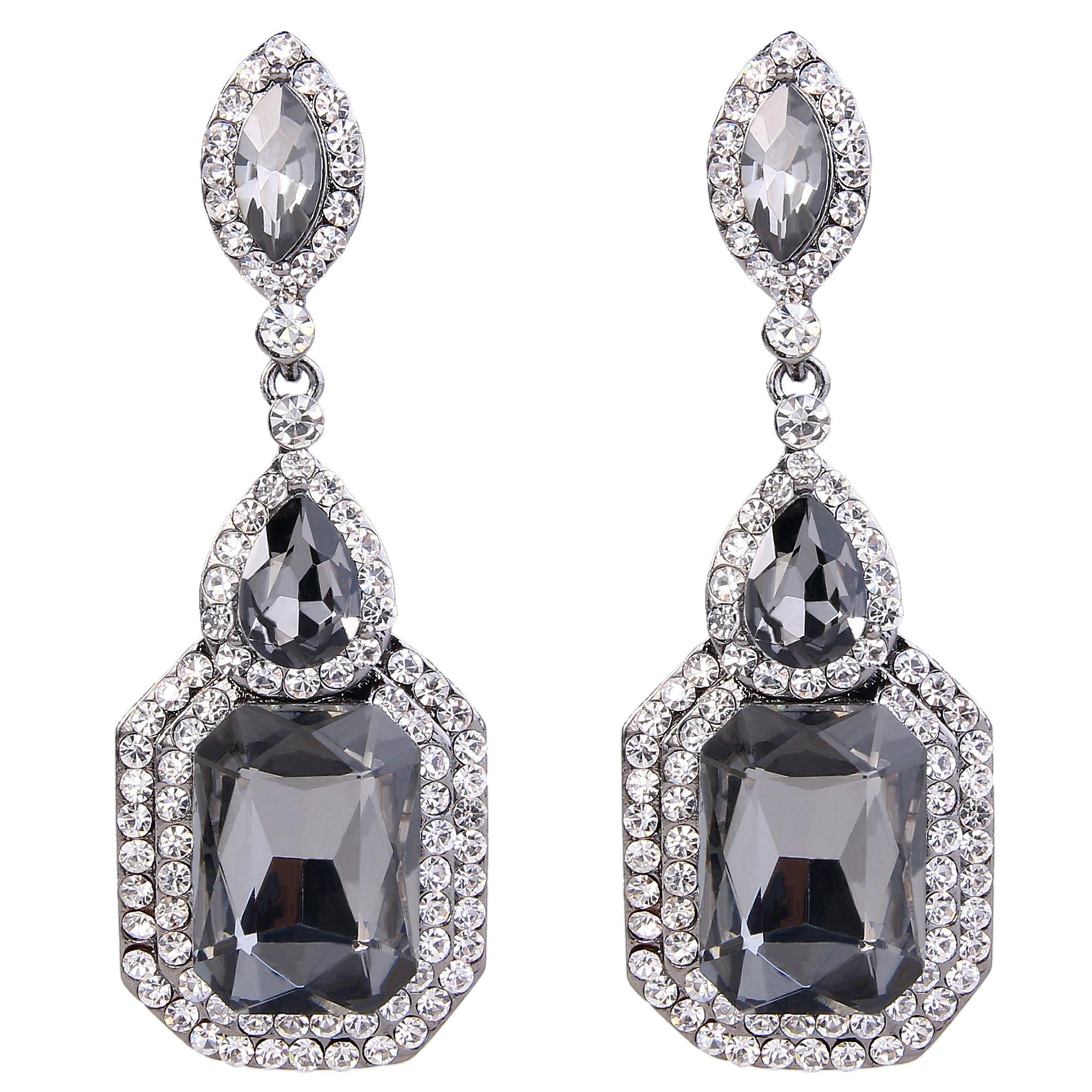 BriLove Wedding Bridal Dangle Earrings for Women Emerald Cut Crystal Infinity Figure 8 Chandelier Earrings Grey Black-Silver-Tone