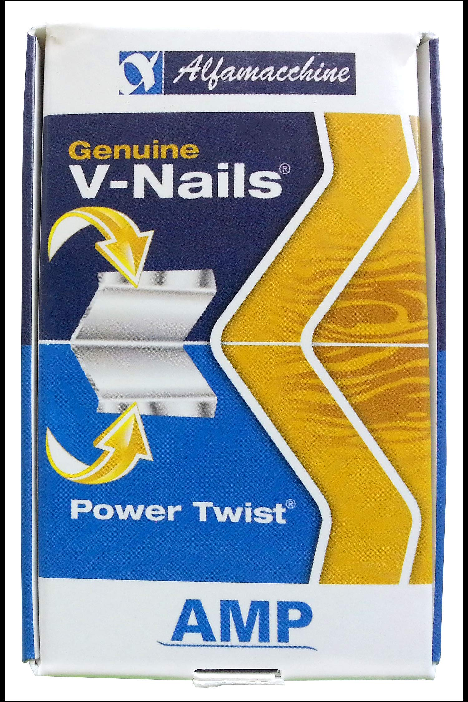 Alfamacchine AMP Genuine Power Twist V-Nail Joint Fasteners, 7mm (1/4'') for MW/HW (Medium to Hardwood) - Pack of 4000