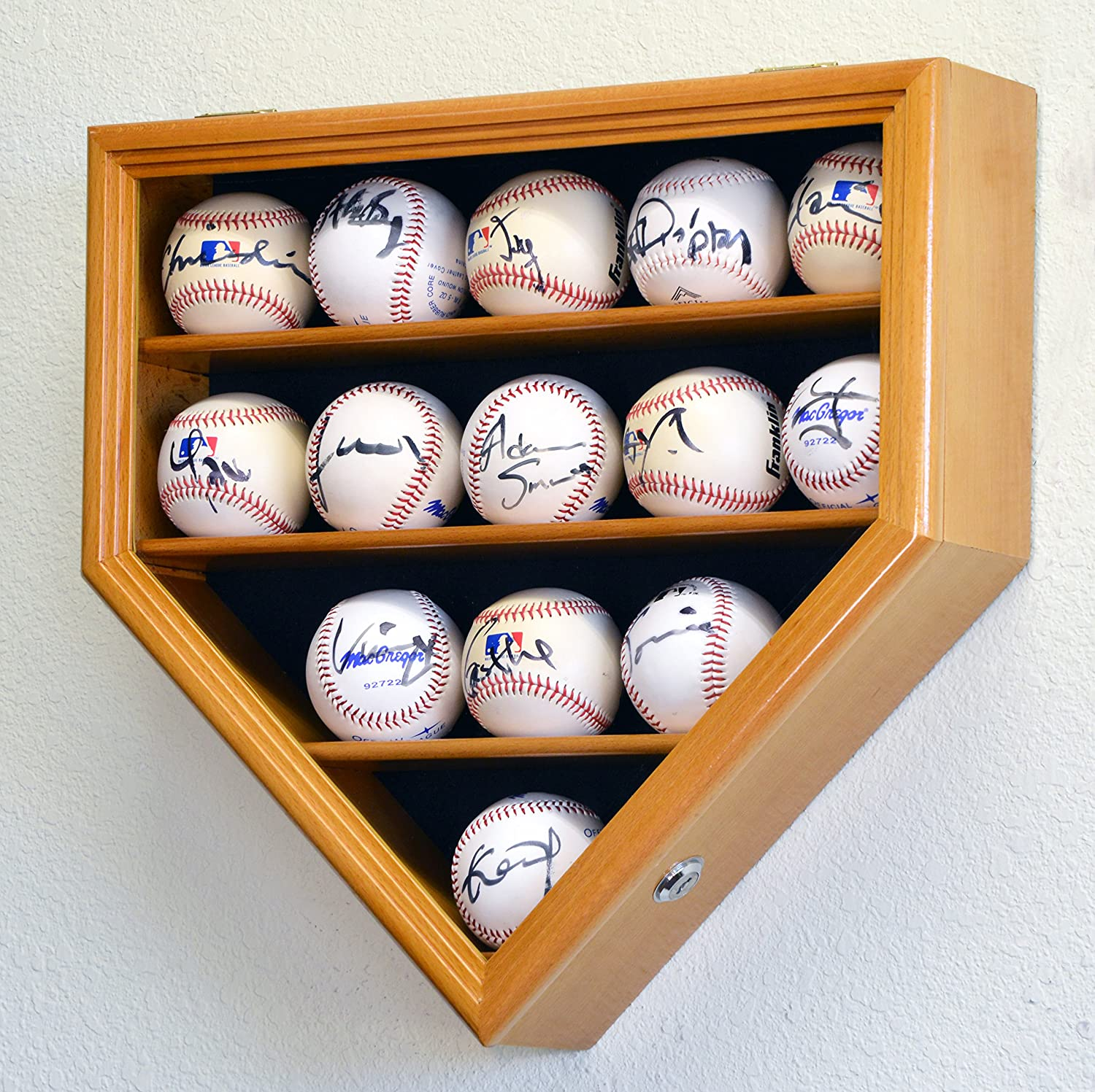 14 Baseball Ball Display Case Cabinet Holder Wall Rack Home Plate Shaped w/98% UV Protection- Lockable -Oak