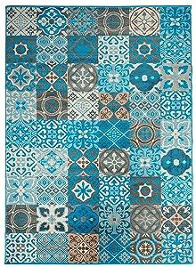 Unamourdetapis Tapis Chambre BC FAIAN Bleu 200 x 290 cm Fabriqué en Europe Tapis de Salon Moderne Design