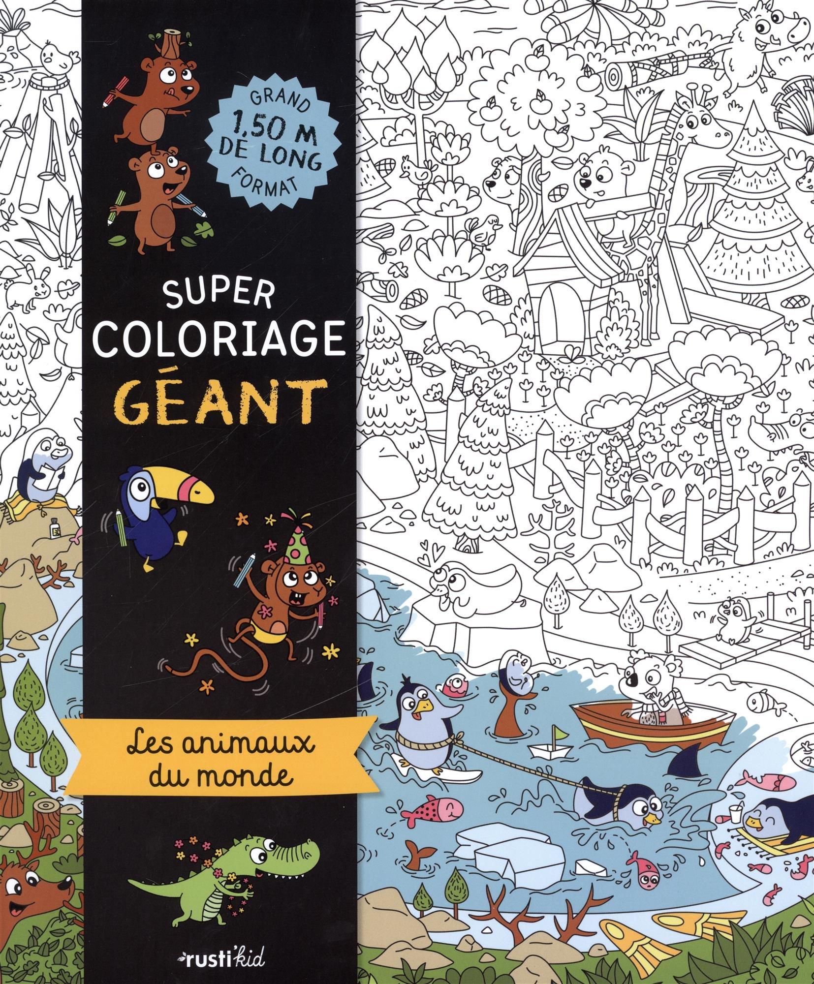 Coloriage Geant Animaux.Super Coloriage Geant Les Animaux Du Monde Amazon Fr