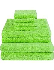 luxoon - Juego de Toallas (100% algodón, 8 Unidades), Color Verde
