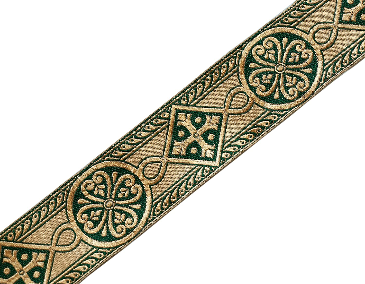 2.5 Wide Forest Green /& Gold Chasuble Medieval Church Vestment Trim 4 Yds DIY