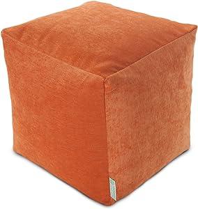 "Majestic Home Goods Orange Villa Indoor Bean Bag Ottoman Pouf Cube 17"" L x 17"" W x 17"" H"