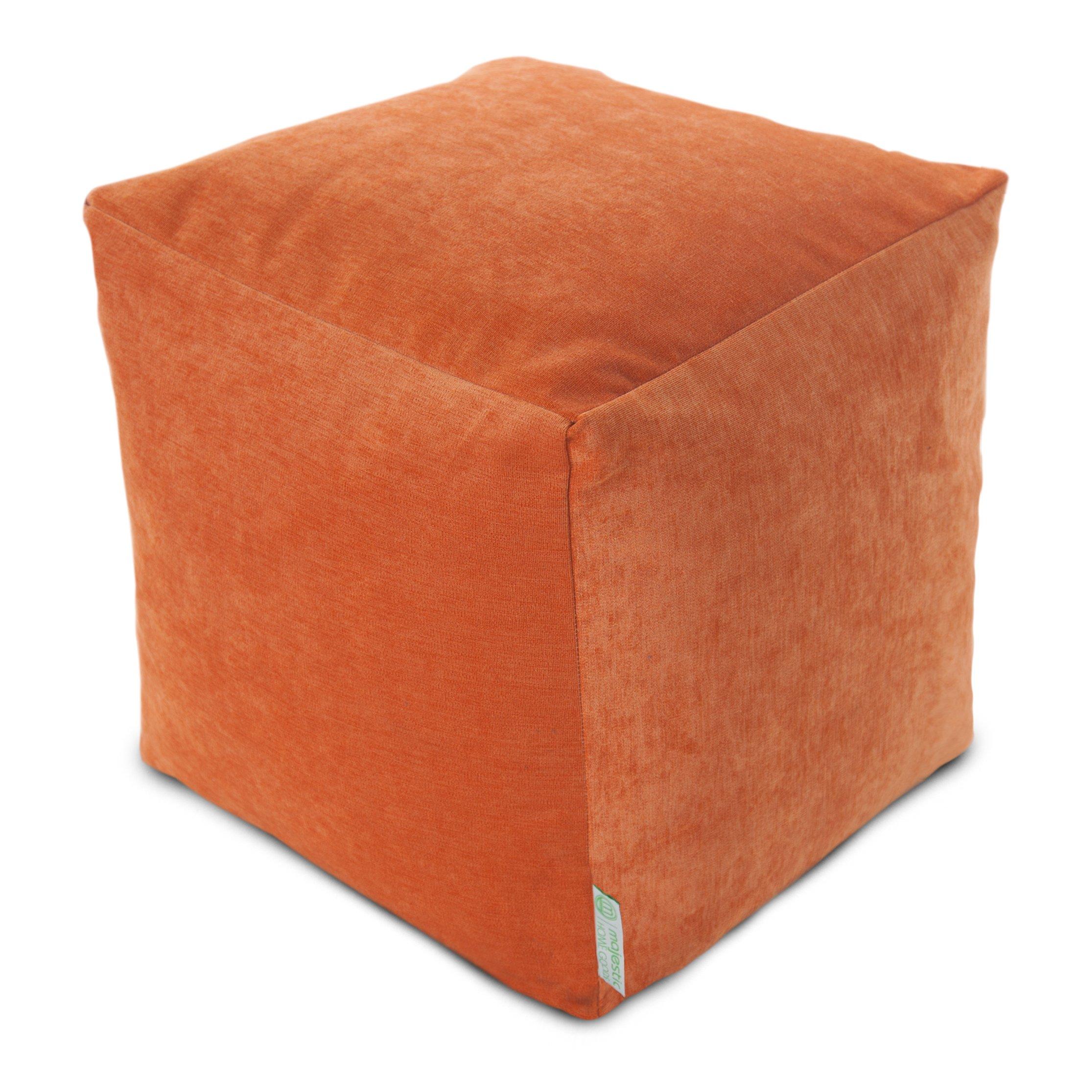 Majestic Home Goods Orange Villa Indoor Bean Bag Ottoman Pouf Cube 17'' L x 17'' W x 17'' H