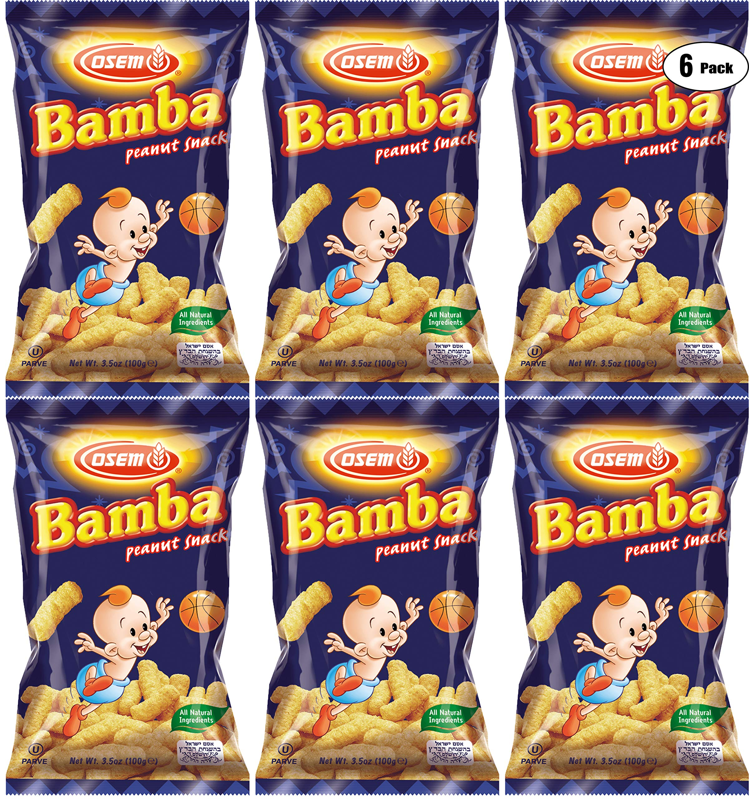 Bamba Peanut Butter Snacks All Natural Peanut Butter Corn Puff Snack (Pack of 6, 3.5oz Bags) by Osem
