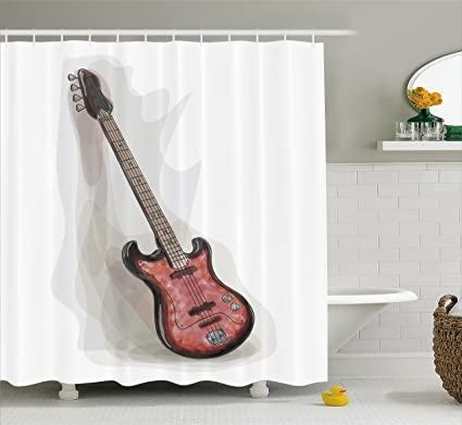 Lunarable Bass Guitar Shower Curtain Rock And Roll Theme Hobby Motley Grunge Paintbrush Watercolor